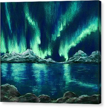 Canvas Print featuring the pastel Aurora Borealis by Anastasiya Malakhova
