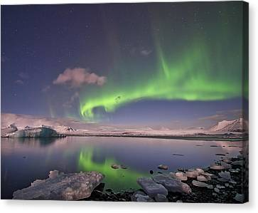 Canvas Print featuring the photograph Aurora Borealis And Reflection #2 by Wanda Krack