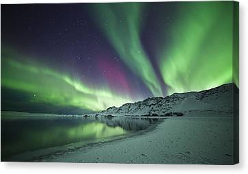 Aurora Borealis In Iceland Canvas Print by Arnar B Gudjonsson