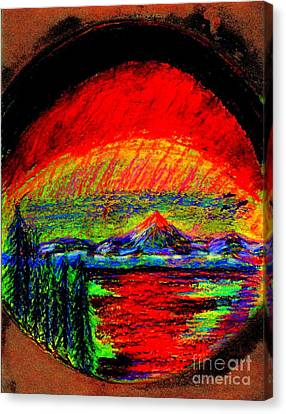 Canvas Print featuring the painting Aurora Borealis Northern Lights by Richard W Linford