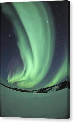 Aurora Borealis Over Prosperous Lake Canvas Print by Jiri Hermann