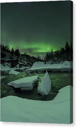 Aurora Borealis, Tennevik River, Troms Canvas Print by Arild Heitmann