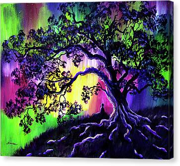 Aurora Borealis Tree Of Life Meditation Canvas Print