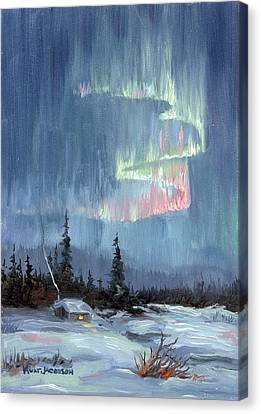 Canvas Print featuring the painting Aurora Lights by Kurt Jacobson
