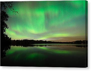 Aurora Over Tofte Lake Canvas Print by Larry Ricker