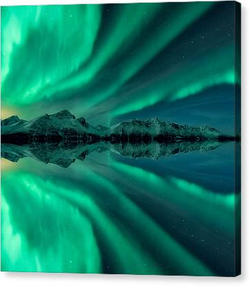 Winter Light Canvas Print - Aurora Square 2 by Tor-Ivar Naess