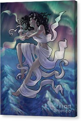Canvas Print featuring the digital art Aurora Weaver by Amyla Silverflame