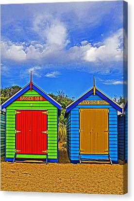Aussie Beach Boxes Canvas Print by Dennis Cox WorldViews