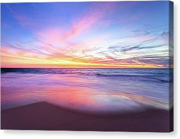 Canvas Print featuring the photograph Aussie Sunset, Claytons Beach, Mindarie by Dave Catley