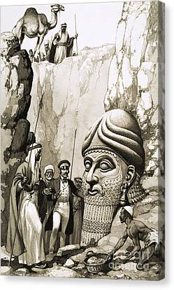 Austen Layard And The Statue Of Nimrud Canvas Print by Pat Nicolle