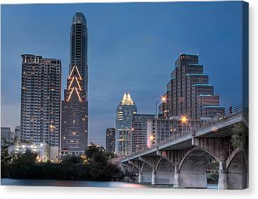 Austin At Dusk - Congress Street Bridge In Hdr Canvas Print by David Thompson