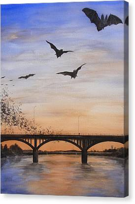 Austin Bats Take Flight Canvas Print by Robert Plog