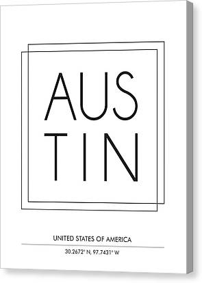 Austin City Print With Coordinates Canvas Print
