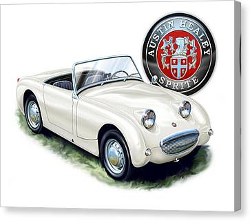 Austin Healey Bug Eye White Canvas Print by David Kyte