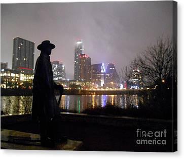 Austin Hike And Bike Trail - Iconic Austin Statue Stevie Ray Vaughn - One Canvas Print by Felipe Adan Lerma