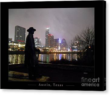 Austin Hike And Bike Trail - Iconic Austin Statue Stevie Ray Vaughn - One Greeting Card Poster Canvas Print by Felipe Adan Lerma
