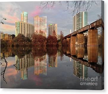 Austin Hike And Bike Trail - Train Trestle 1 Sunset Triptych Left Canvas Print by Felipe Adan Lerma