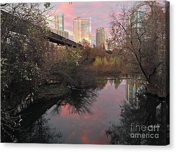 Austin Hike And Bike Trail - Train Trestle 1 Sunset Triptych Right Canvas Print by Felipe Adan Lerma