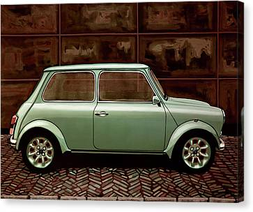 Bmw Vintage Cars Canvas Print - Austin Mini Cooper Mixed Media by Paul Meijering