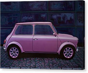 Bmw Vintage Cars Canvas Print - Austin Mini Cooper 1964 Painting by Paul Meijering