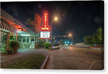 Canvas Print featuring the photograph Austin Motel by John Maffei