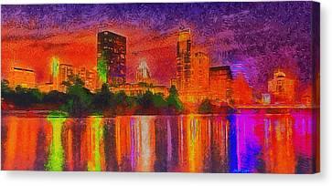 Austin Night Skyline  - Special Finishing -  - Pa Canvas Print by Leonardo Digenio