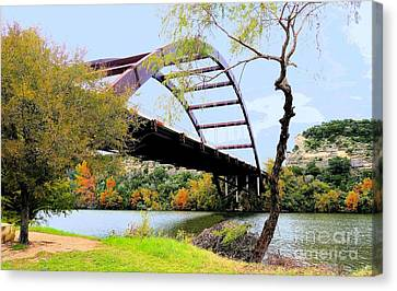 Austin Pennybacker Bridge In Autumn Canvas Print by Janette Boyd