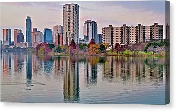 Austin River Walk Sunset Canvas Print by Frozen in Time Fine Art Photography