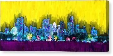 Centre Canvas Print - Austin Skyline 151 - Da by Leonardo Digenio