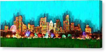 Austin Skyline Canvas Print - Austin Skyline 164 - Da by Leonardo Digenio