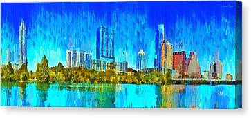 Centre Canvas Print - Austin Skyline 310 Large Format - Da by Leonardo Digenio