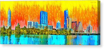 Austin Skyline Canvas Print - Austin Skyline 315 - Pa by Leonardo Digenio