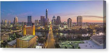 Frost Tower Canvas Print - Austin Skyline Aerial View Pano From Congress 1 by Rob Greebon
