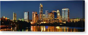Austin Skyline At Night Color Panorama Texas Canvas Print by Jon Holiday