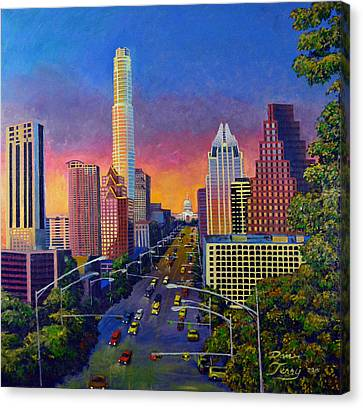 Austin Skyline At Sunset Canvas Print by Dan Terry