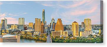 Austin Skyline At Sunset Pano Canvas Print by Tod and Cynthia Grubbs
