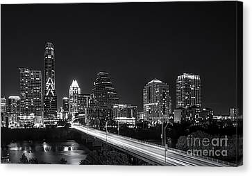 Austin Skyline Black And White Canvas Print by Tod and Cynthia Grubbs