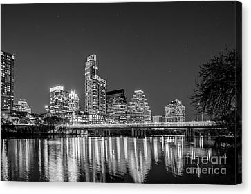 Austin Skyline In Black And White Canvas Print by Tod and Cynthia Grubbs