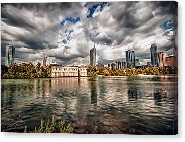 Canvas Print featuring the photograph Austin Skyline On Lady Bird Lake by John Maffei