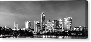 Austin Skyline Pano In Black And White Canvas Print by Tod and Cynthia Grubbs