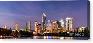 Austin Skyline Panorama At Night Canvas Print by Tod and Cynthia Grubbs