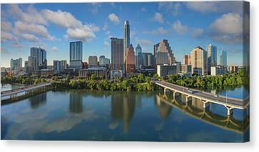 Frost Tower Canvas Print - Austin Skyline Panorama Spring Afternoon 7-1 by Rob Greebon