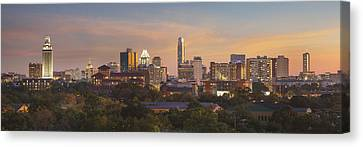 Frost Tower Canvas Print - Austin Skyline Sunset From The Northwest 1 by Rob Greebon