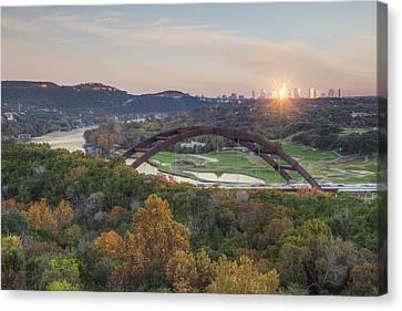 Austin Texas 360 Bridge Autumn Colors Sunburst 1 Canvas Print