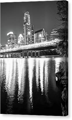 Canvas Print featuring the photograph Austin Texas Black And White Skyline Night Reflections by Gregory Ballos