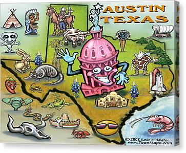 Austin Texas Cartoon Map Canvas Print by Kevin Middleton