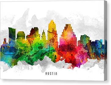 Austin Texas Cityscape 12 Canvas Print by Aged Pixel
