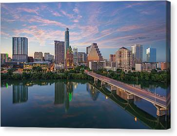 Frost Tower Canvas Print - Austin Texas Evening Skyline 73 by Rob Greebon