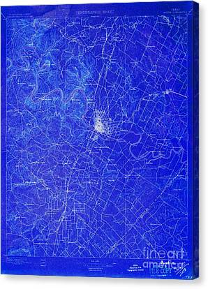 Austin Texas Old Map, Blue Background, White Lines Canvas Print by Pablo Franchi