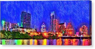 Austin Texas Skyline 100 - Pa Canvas Print by Leonardo Digenio
